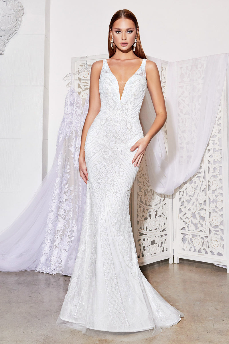 Fully beaded v-neck gown with stretch lining is perfect for both classic & boho brides. The body-flattering beadwork centralizes the waist and extends the leg for a beautiful fit.