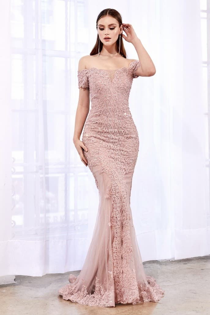 Off the shoulder lace gown with layered lace and scallop finish mermaid fit