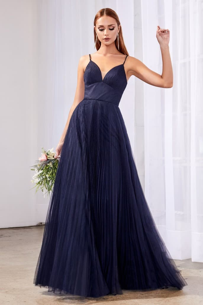 A-line tulle dress with gathered sweetheart neckline and pleated finish dark