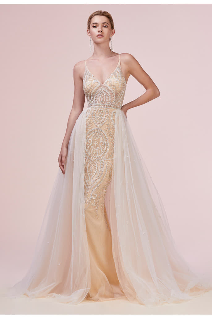 LACE SHEATH GOWN WITH AN ORGANZA OVERSKIRT