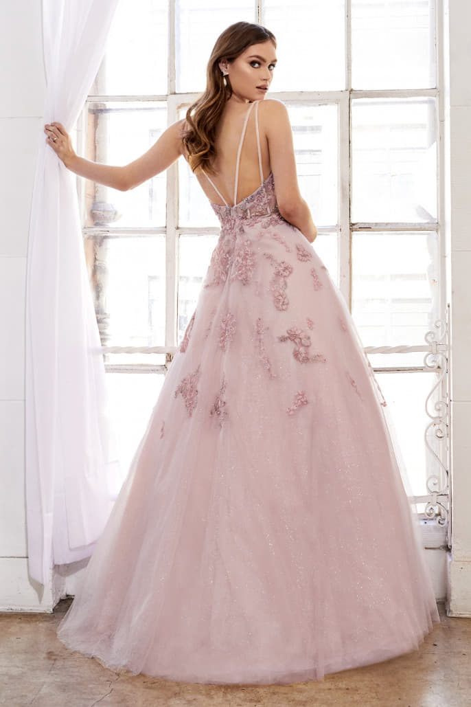 SOPHIA GOWN DANCING FLORAL EMBROIDERED AND GLITTER BALLGOWN
