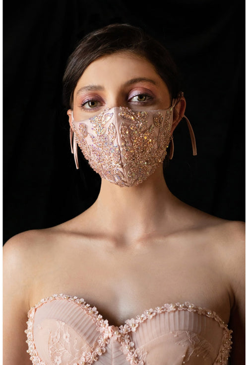 3 PIECE PACK-BEADED FLORAL ANTOINETTE FASHION MASK- BLUSH