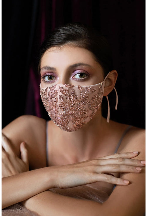 3 PIECE PACK-BEADED FLORAL ANTOINETTE FASHION MASK- ROSE GOLD