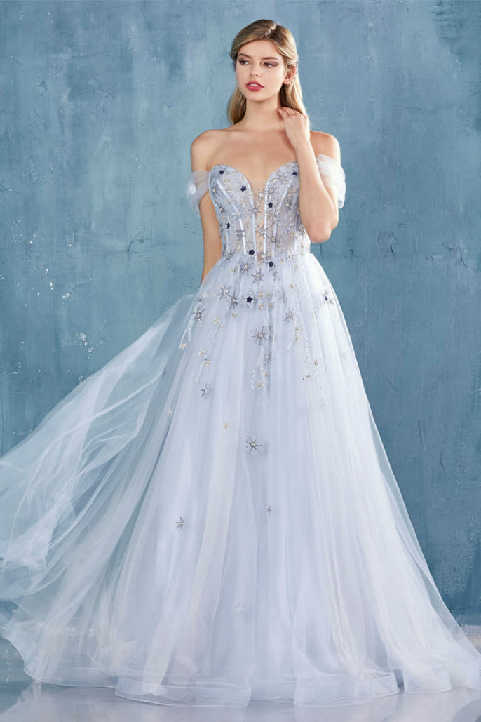 CALYPSO GOWN OFF THE SHOULDER STARS TULLE A-LINE GOWN
