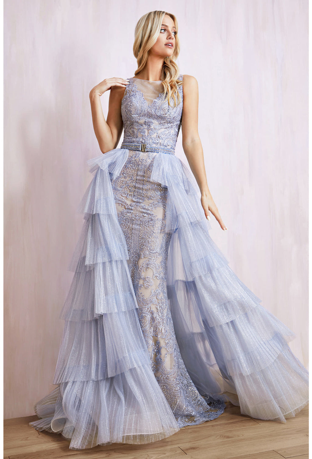 ARIA GOWN ELEGANT LACE SHEATH GOWN WITH A DETACHABLE TIERED GLITTER TULLE SKIRT