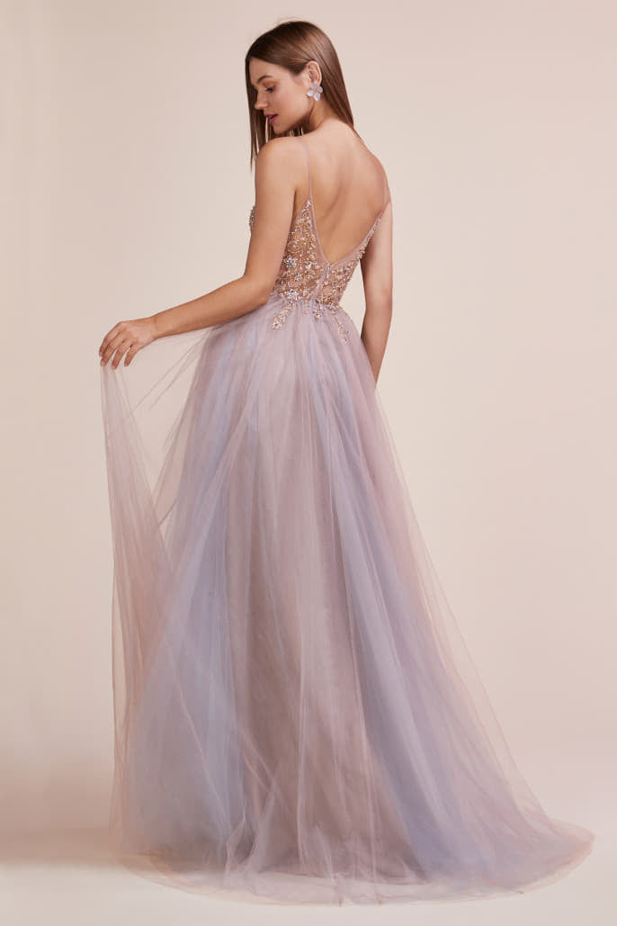 OPHELIA GOWN V-NECK ETHEREAL FLORAL BEADED TULLE A-LINE WITH LEG SLIT