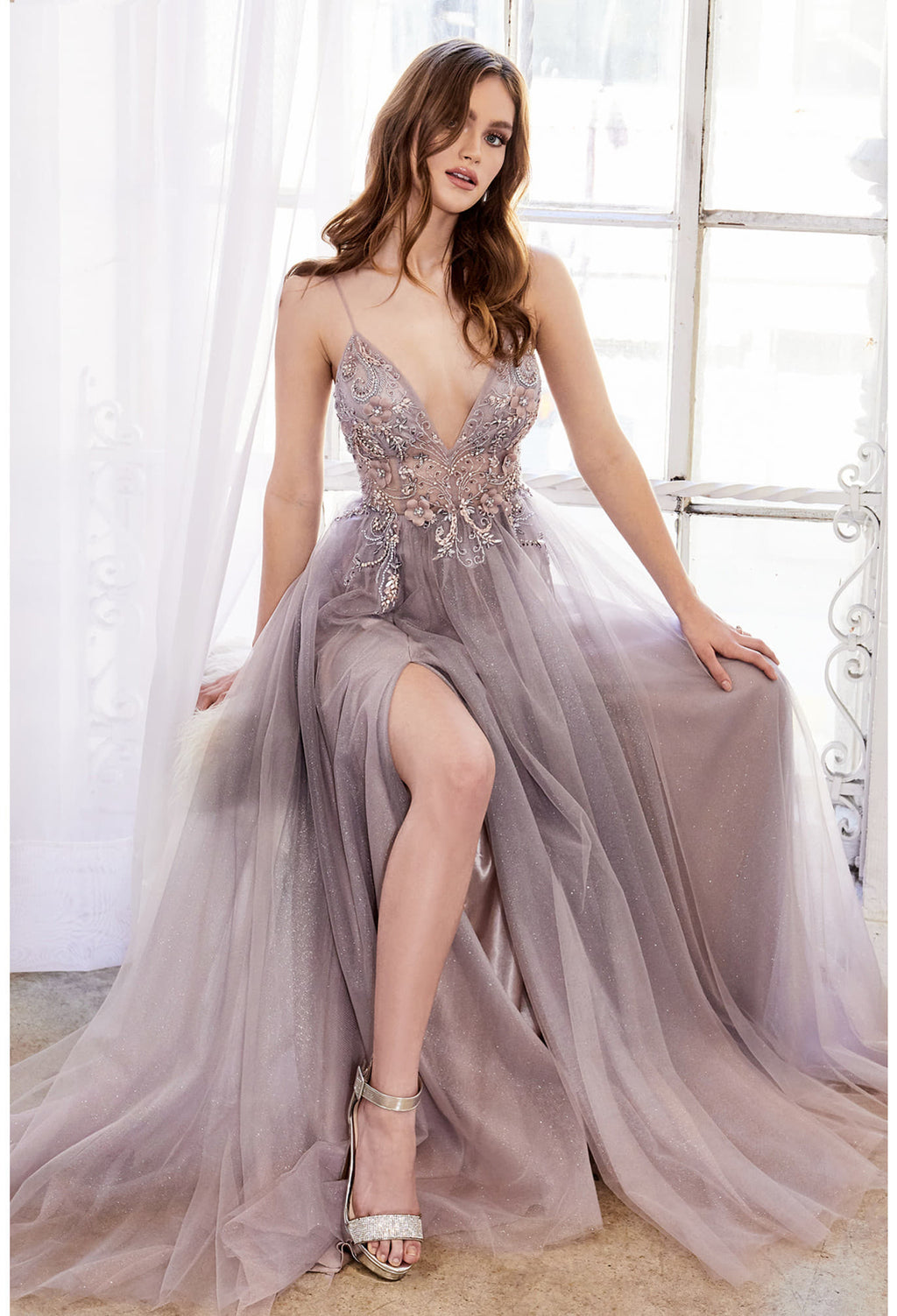 DAPHNE DREAMER 3D FLORAL AND BEADED V-NECK OMBRE TULLE A-LINE GOWN. BACK ZIPPER CLOSURE, SOME STRETCH.