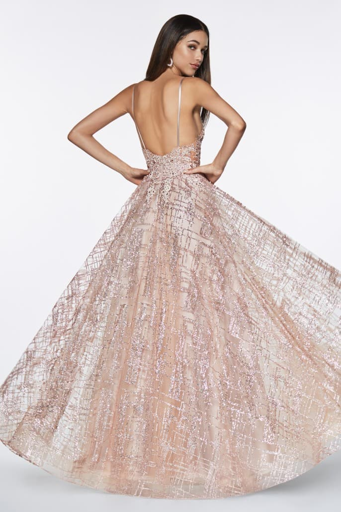 Glitter ball gown with lace bodice details and plunging neckline