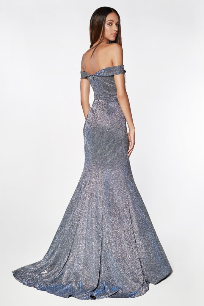 Off the shoulder gown with glitter like detail and leg slit