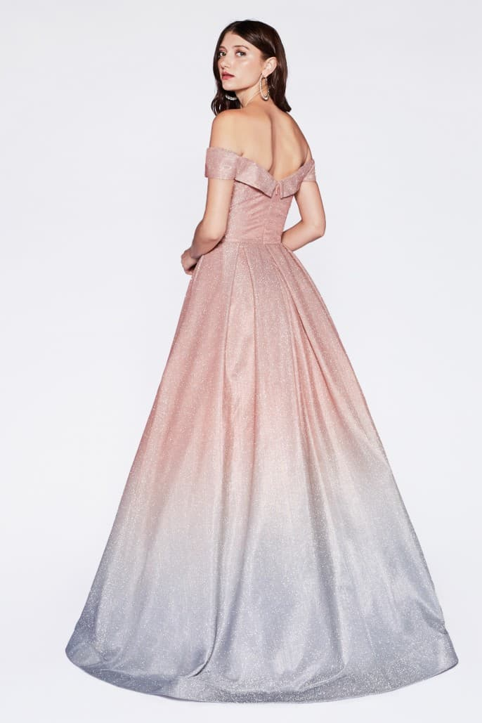 Off the shoulder gown with glitter fabric and rose gold ombre