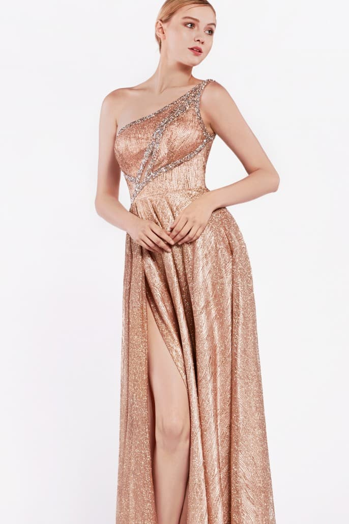 One shoulder a-line gown with front keyhole and high leg slit