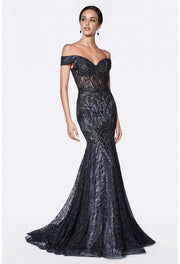 Off the shoulder fitted mermaid gown with lilac and black mixed lace