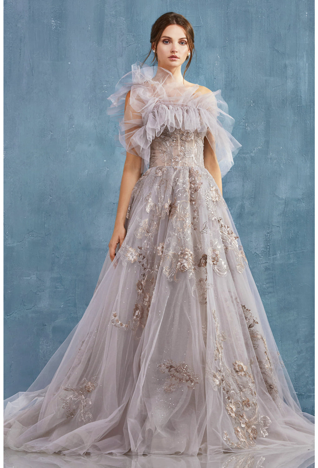 PENELOPE GOWN EMBROIDERED LACE BALL GOWN WITH DETACHABLE RUFFLE SHAWL. BACK ZIPPER CLOSURE.