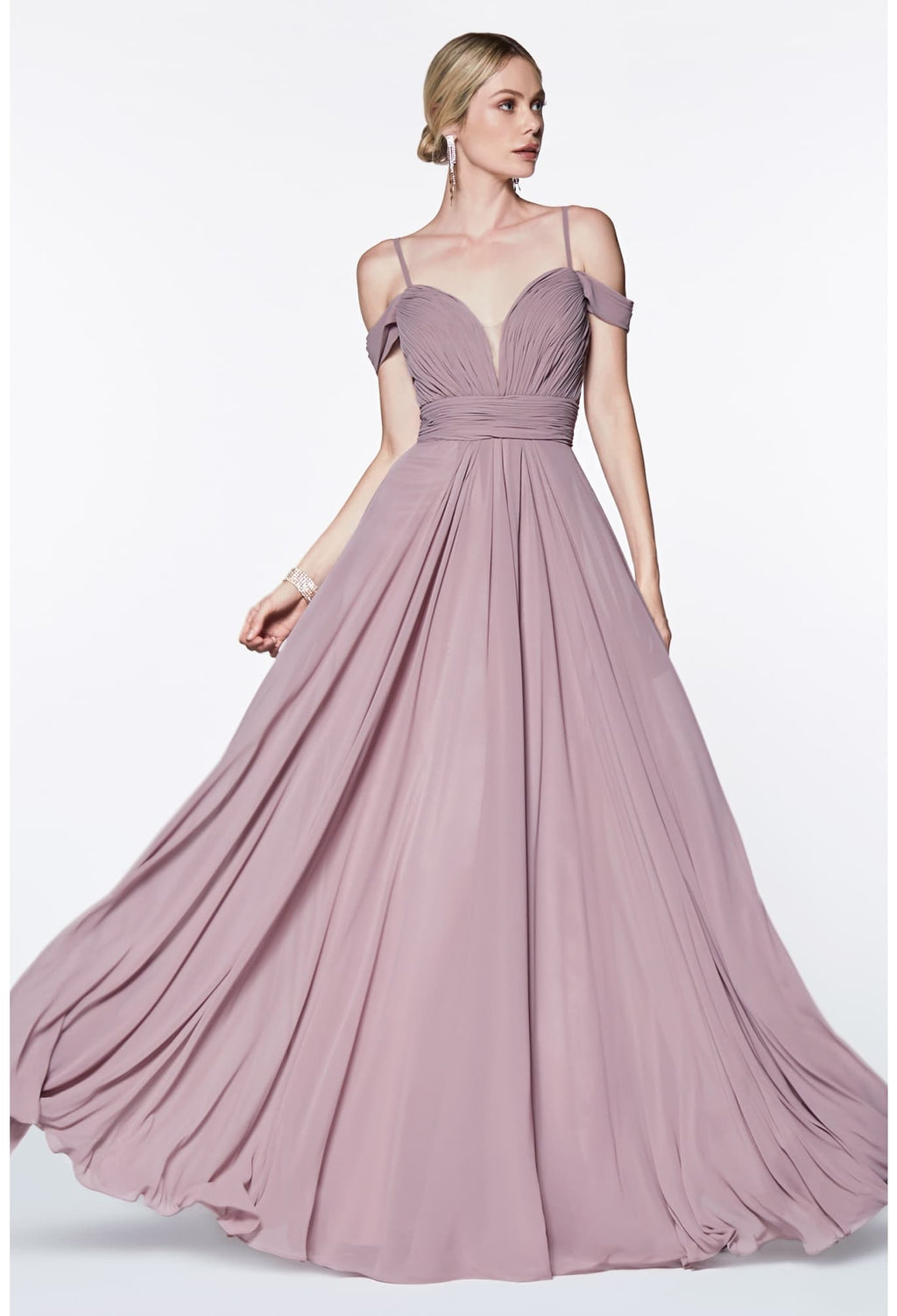 A-line chiffon gown with off the shoulder sleeve and sweetheart neckline