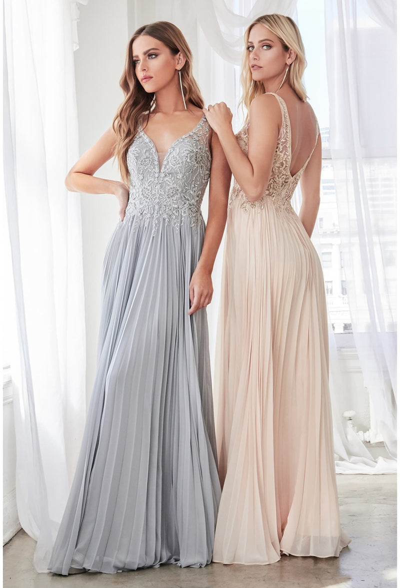 A-line pleated chiffon gown with lace applique bodice and open back