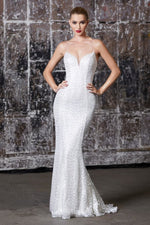Wedding dress fitted iridescent sequin gown with lace up back and deep sweetheart neckline
