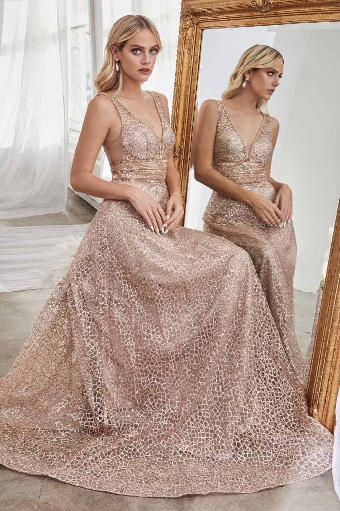 A-line glitter gown with three embellished belts and illusion sheer sides