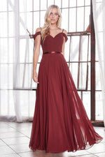 Off the shoulder chiffon gown with corset back and satin belt.
