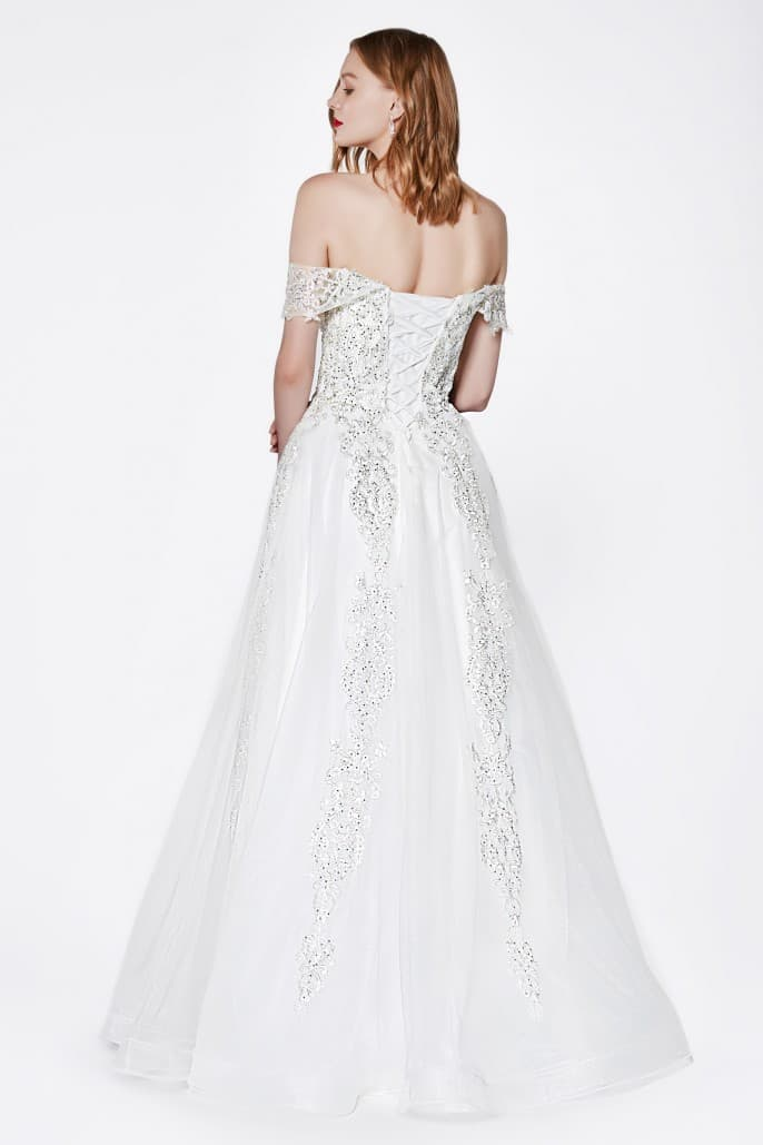 Off the shoulder lace up back ball gown with beaded lace and tulle skirt