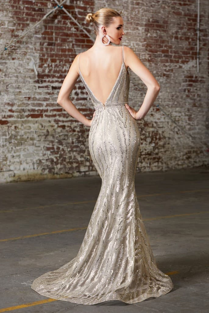 Fitted evening gown with glitter print design and deep v-neckline