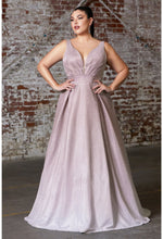 A-line metallic glitter ombre gown with pleated neckline and pockets