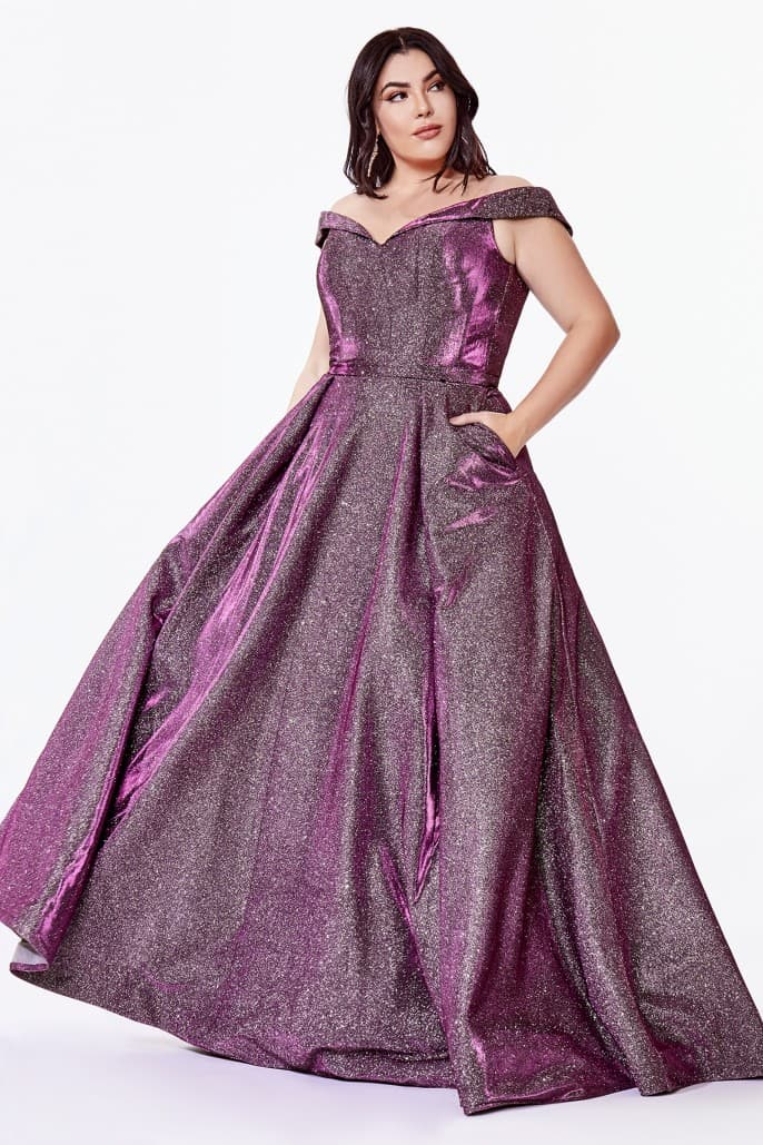 Off the shoulder ball gown with glitter metallic finish and pockets