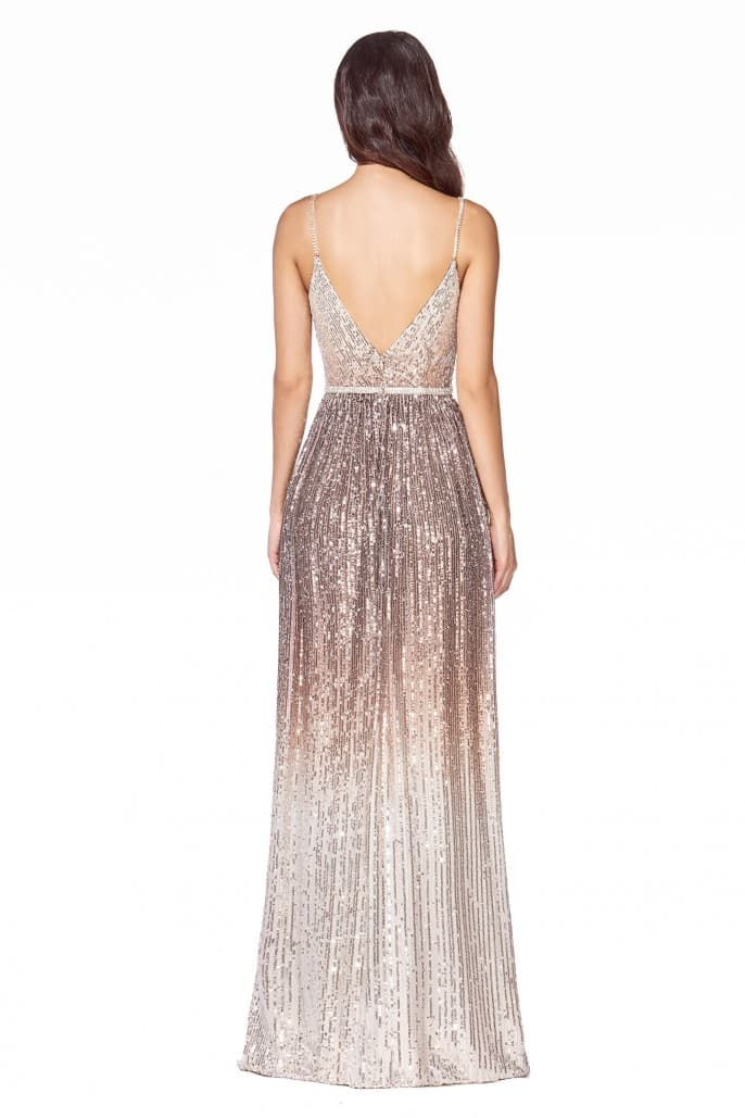 Sheath gown with metallic ombre sequin print and beaded belt