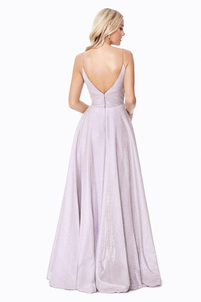 A-line sparkle gown with deep plunging neckline and open back