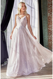 A-line glitter gown with pleated bodice