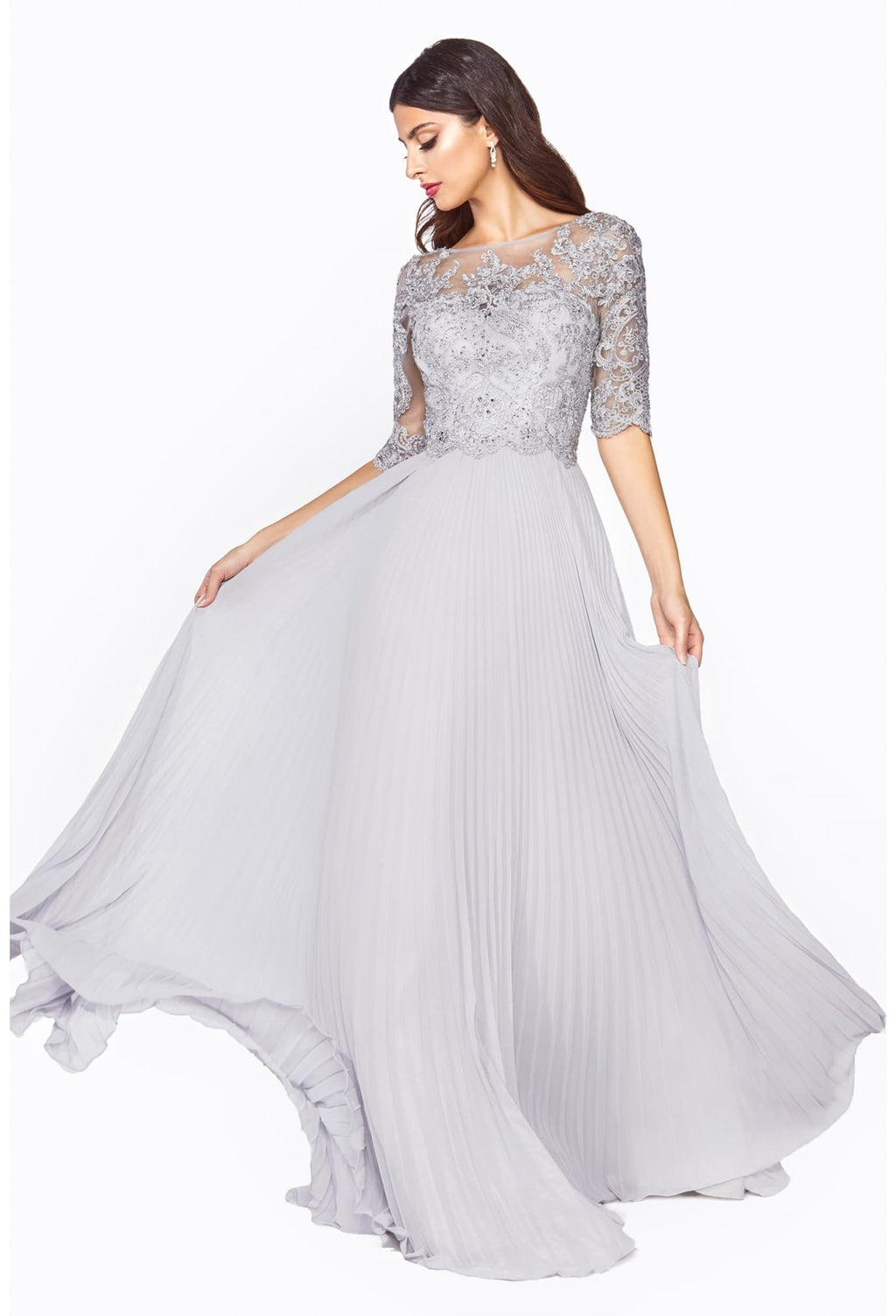 A-line dress with pleated chiffon skirt and lace three-quarter sleeve bodice