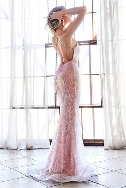 Fitted sequin gown with deep plunging halter neckline and open back