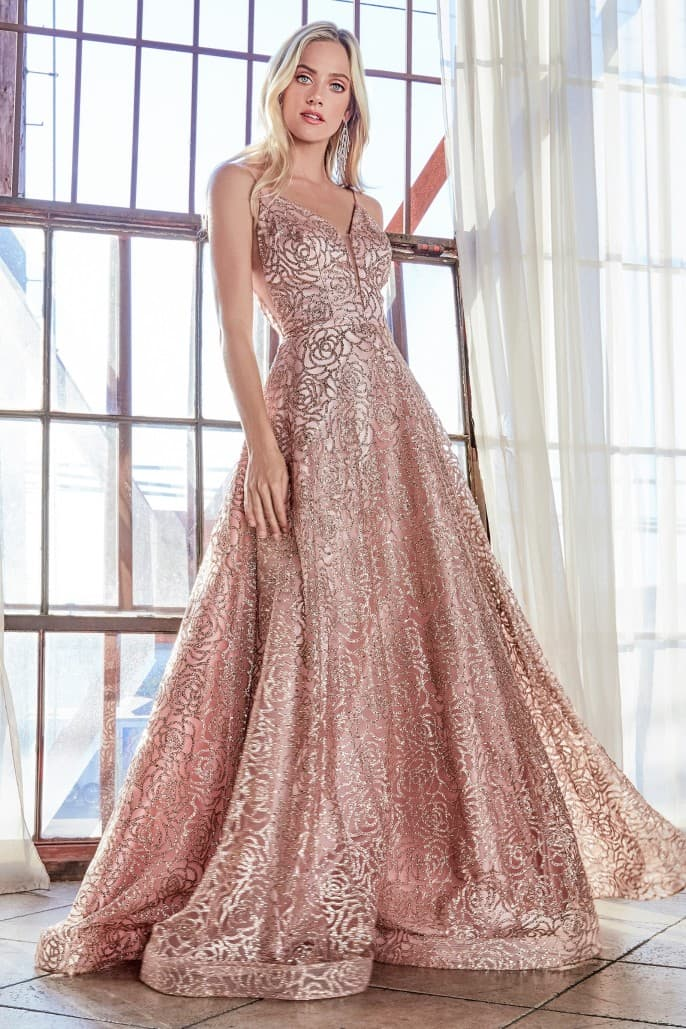 Ball gown with rose glitter print, plunge neckline and open back