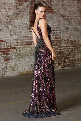 Fitted sequin dress with illusion sides and leg slit