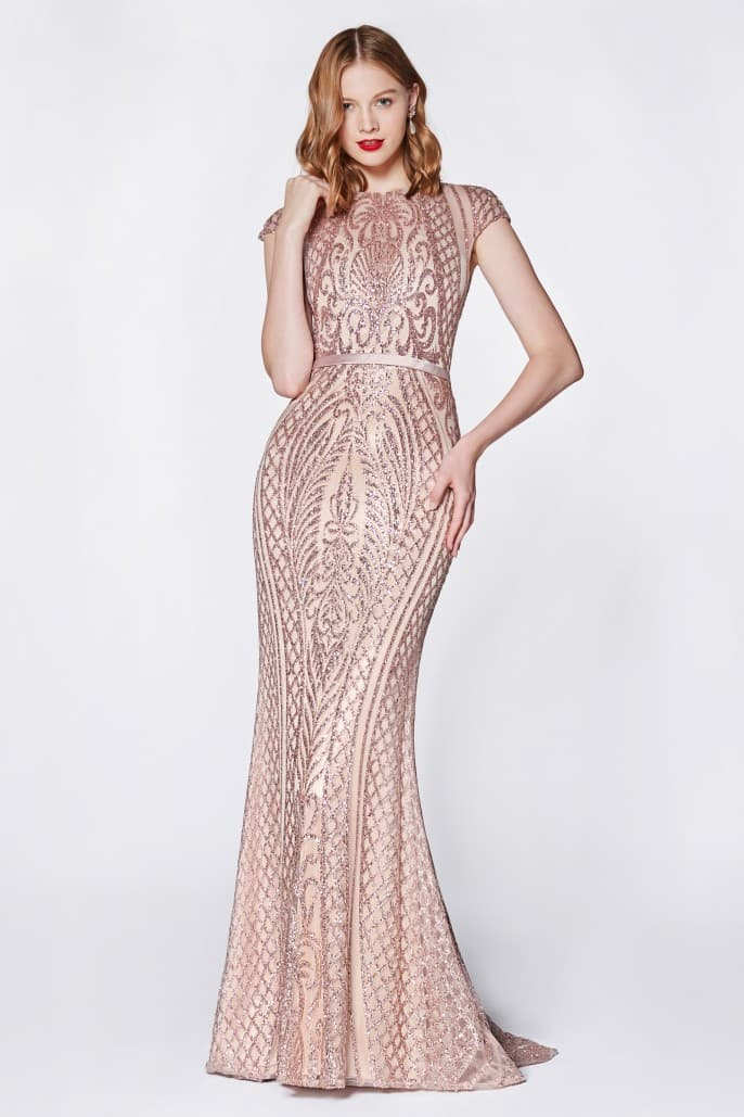 Fitted lattice print glitter gown with cap sleeves and closed back