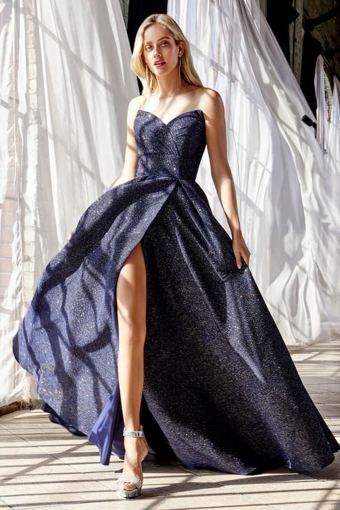 Strapless ball gown with glitter finish and lace up corset back