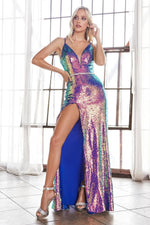 Slim fit sexy sequin gown with beaded belt and lace up back