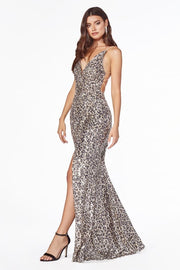 Fitted sequin gown with gathered waist, criss cross back and leg slit