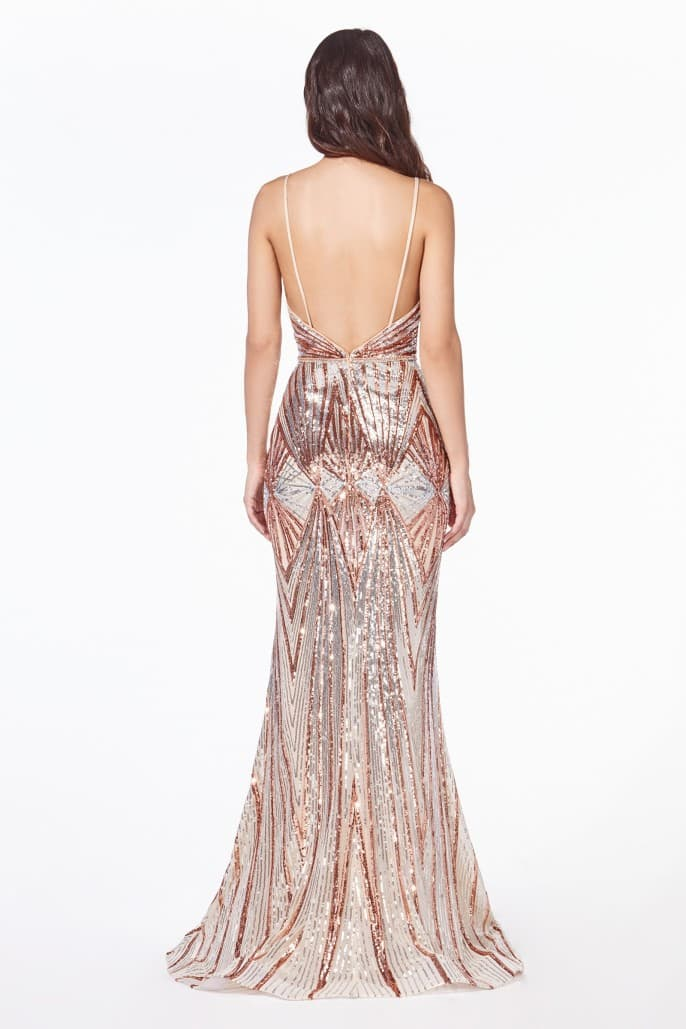 Fitted sequin gown with art deco sequin print and open back