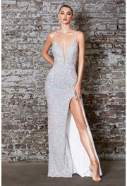 Fitted iridescent sequin gown with lace up back and deep v-neckline