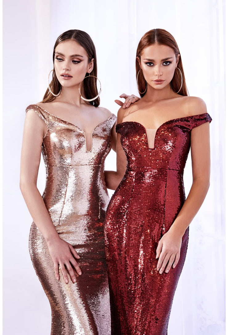 Off the shoulder fitted dress with sequin finish and deep plunge neckline