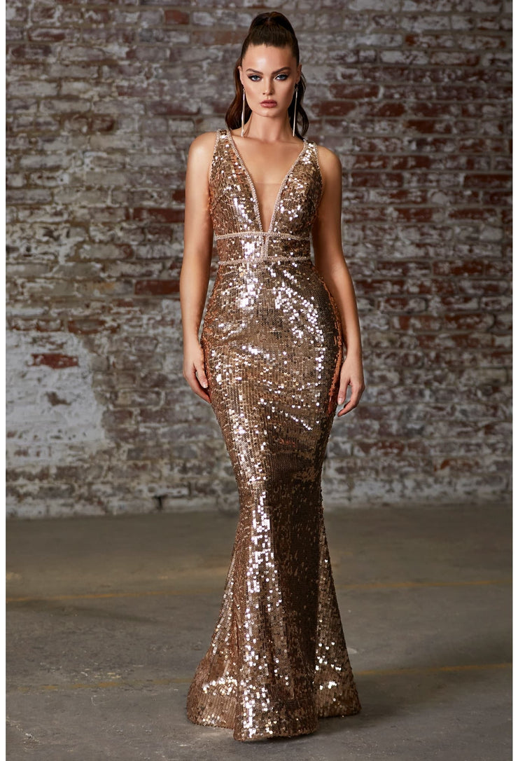 Fitted sequin dress with beaded belts and open back
