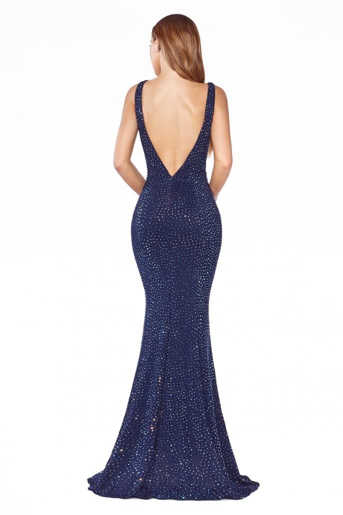Fitted gown with rhinestone embellishment and illusion sides