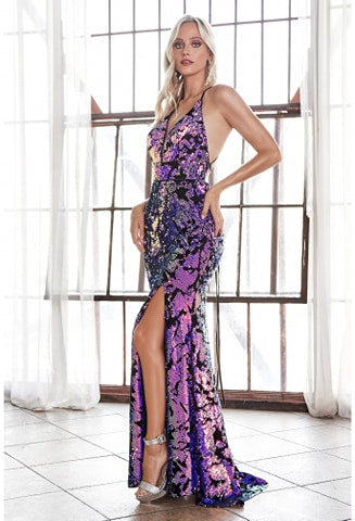 Slim fit sequin gown with iridescent finish and lace up back