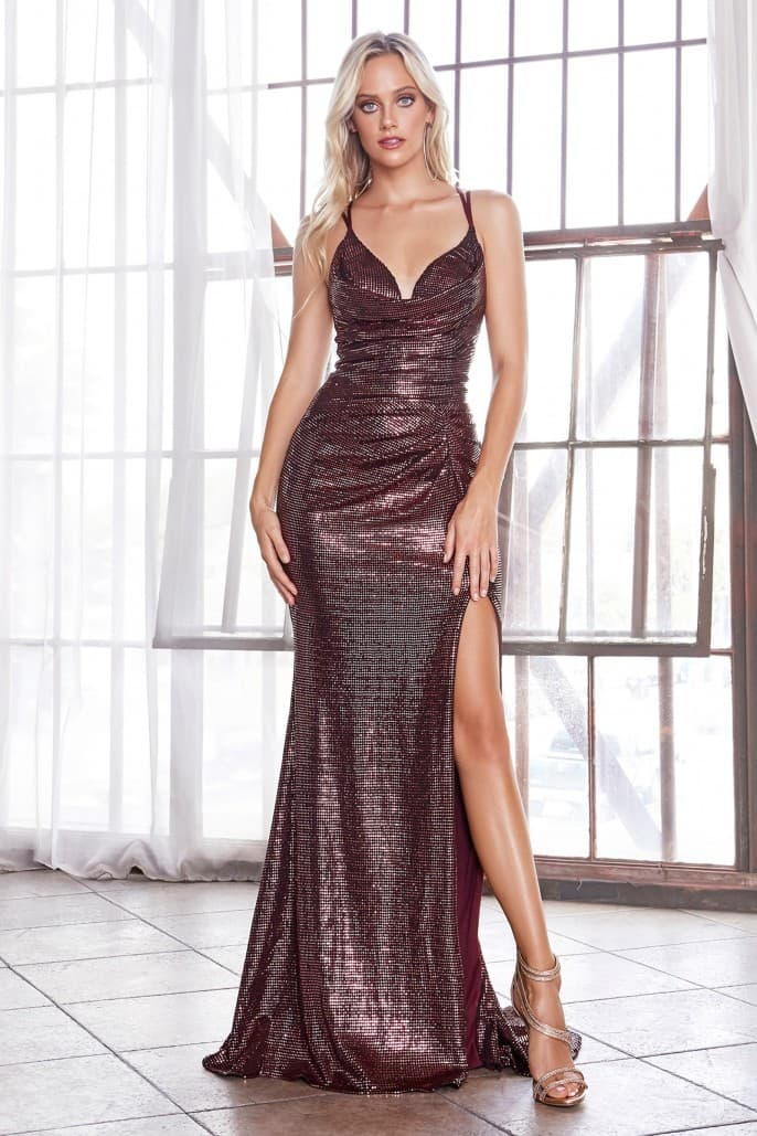 Fitted iridescent gown with cowl neckline and leg slit