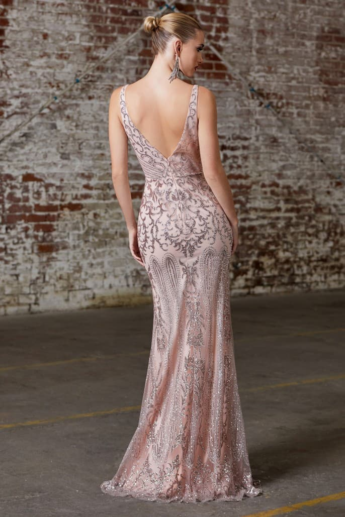 Plus Size- Fitted gown with glitter print and deep plunging neckline