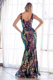Fitted dress with iridescent sequin print and illusion sides