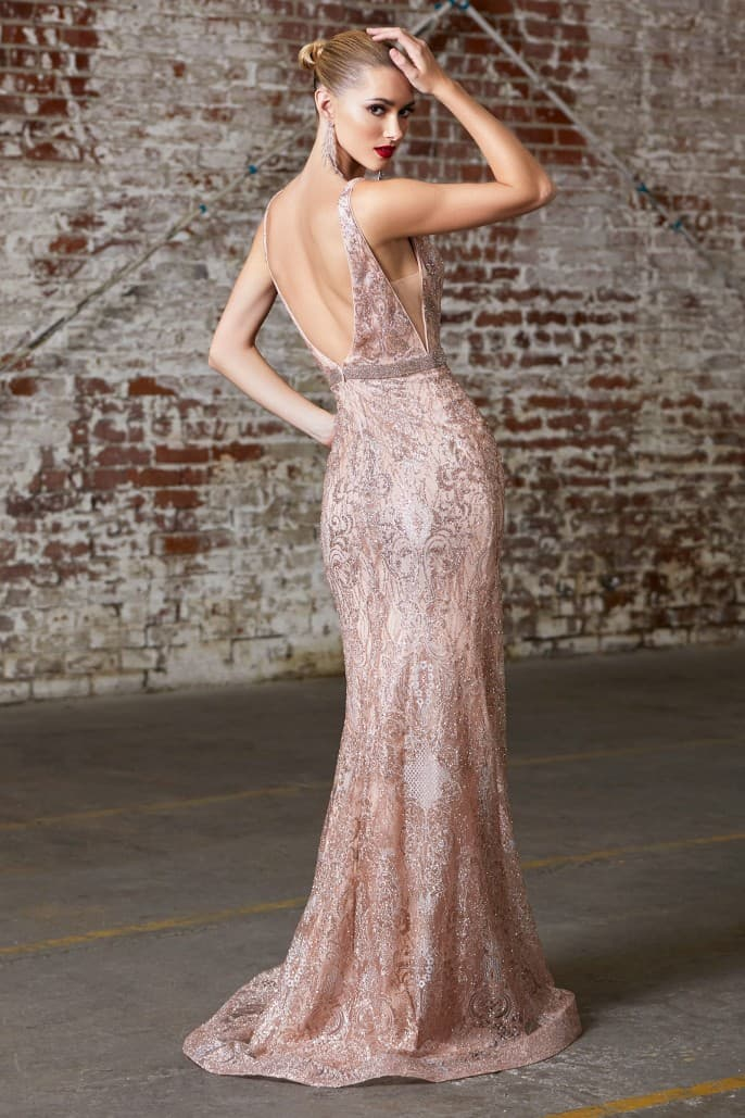 Fitted glitter print dress with beaded belt and open back