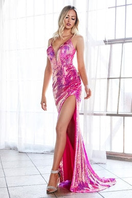 Fitted sexy sequin gown with iridescent finish and lace up back