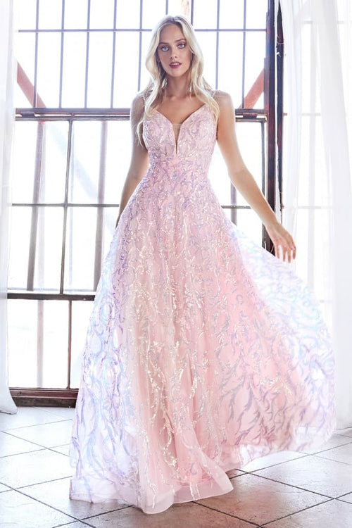 Ball gown with sequin scroll print and beaded straps