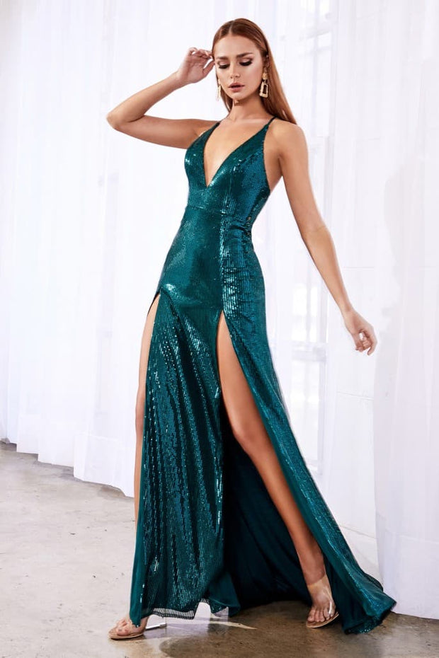 Fitted sequin dress with double slits and deep plunging neckline